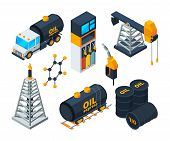 Industry 3d Isometric Illustrations Of Oil And Gas Refining. Vector Oil And Gas Industry, Power Indu poster