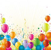 stock photo of confetti  - balloon with holiday celebration background - JPG