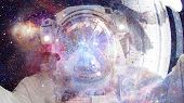 Astronaut In Outer Space. Science Fiction Art. Elements Of This Image Furnished By Nasa. poster