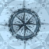 Grunge Blue Background With Compass Rose. Geography Research, Worldwide Traveling And Exploration. N poster
