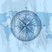 Vintage Wind Rose On Grunge Background Of World Map. Geography Research, Worldwide Traveling And Exp poster