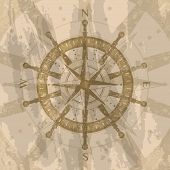 Vintage Wind Rose On Grunge Background. Geography Research Concept, Worldwide Traveling And Explorat poster