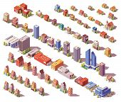 Vector Low Poly Isometric Modern And Old City Buildings, Houses And Stores Set poster