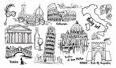 Italy Landmark Vector Sketch Set. Coliseum, Bridges Venice, Tower Pisa, Vatican, Rimini, Arch August poster
