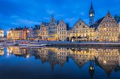 Panoramic View Of Famous Graslei In The Historic City Center Of Ghent Illuminated In Beautiful Post  poster