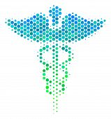 Halftone Round Spot Medicine Caduceus Symbol Icon. Icon In Green And Blue Color Tones On A White Bac poster