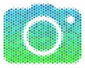 Halftone Round Spot Photo Camera Pictogram. Pictogram In Green And Blue Color Tinges On A White Back poster