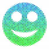Halftone Dot Smile Pictogram. Pictogram In Green And Blue Color Hues On A White Background. Vector C poster