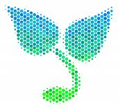 Halftone Circle Sprout Pictogram. Pictogram In Green And Blue Color Tints On A White Background. Vec poster