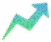 Halftone Circle Trend Pictogram. Pictogram In Green And Blue Shades On A White Background. Vector Co poster