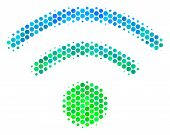 Halftone Round Spot Wi-fi Pictogram. Pictogram In Green And Blue Shades On A White Background. Vecto poster