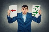 Confused Young Businessman Holding Two Sheets With Drawn Arrows Poinded To The Left And Right Side.  poster