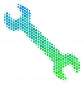 Halftone Round Spot Wrench Icon. Pictogram In Green And Blue Color Tinges On A White Background. Vec poster