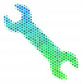 Halftone Dot Wrench Pictogram. Pictogram In Green And Blue Color Hues On A White Background. Vector  poster