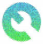 Halftone Round Spot Wrench Pictogram. Icon In Green And Blue Color Tones On A White Background. Vect poster