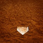 Baseball homeplate home plate in brown dirt for sports american past time poster