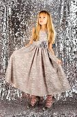 Fashion Model On Silver Background, Beauty. Child Girl In Stylish Glamour Dress, Elegance. Look, Hai poster