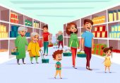 People In Supermarket Vector Illustration. Flat Cartoon Design Of Family Mother, Father And Children poster