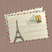 Vector Vintage Style Letters With Eiffel Tower, Marks And Stamps Of France And Place For Text On Woo poster