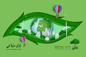 Green Eco Friendly Save The World And Environment Concept,paper Art And Craft Design With Leaf Shape poster