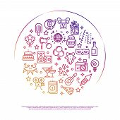 Party Celebration Concept Design. Event, Party, Entertainment Outline Vector Icons In Circle Design  poster