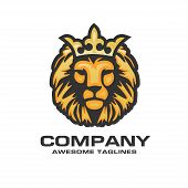 The Head Of A Lion With A Royal Crown,lion Head With Crown Vector, Vector Sign Concept Illustration. poster
