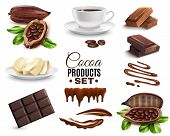 Set Of Realistic Cocoa Products Including Dried Beans, Drink, Cacao Butter, Chocolate Bar Isolated V poster