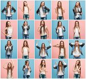 The Collage Of Different Human Facial Expressions, Emotions And Feelings Of Young Teen Girl. Human E poster