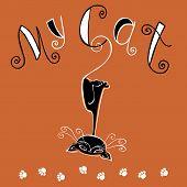 My Cat. Funny Lettering. Funny Black Cat Hanging Upside Down. Illustration. Postcard Design And Prin poster