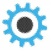 Halftone Circle Cogwheel Icon. Pictogram On A White Background. Vector Mosaic Of Cogwheel Icon Compo poster