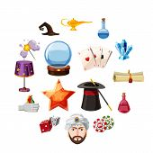 Magician Icons Set Items. Cartoon Illustration Of 16 Magician Items Vector Icons For Web poster