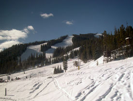 stock photo of amtrak  - Ski run photographed from window of Amtrak Zephyr - JPG
