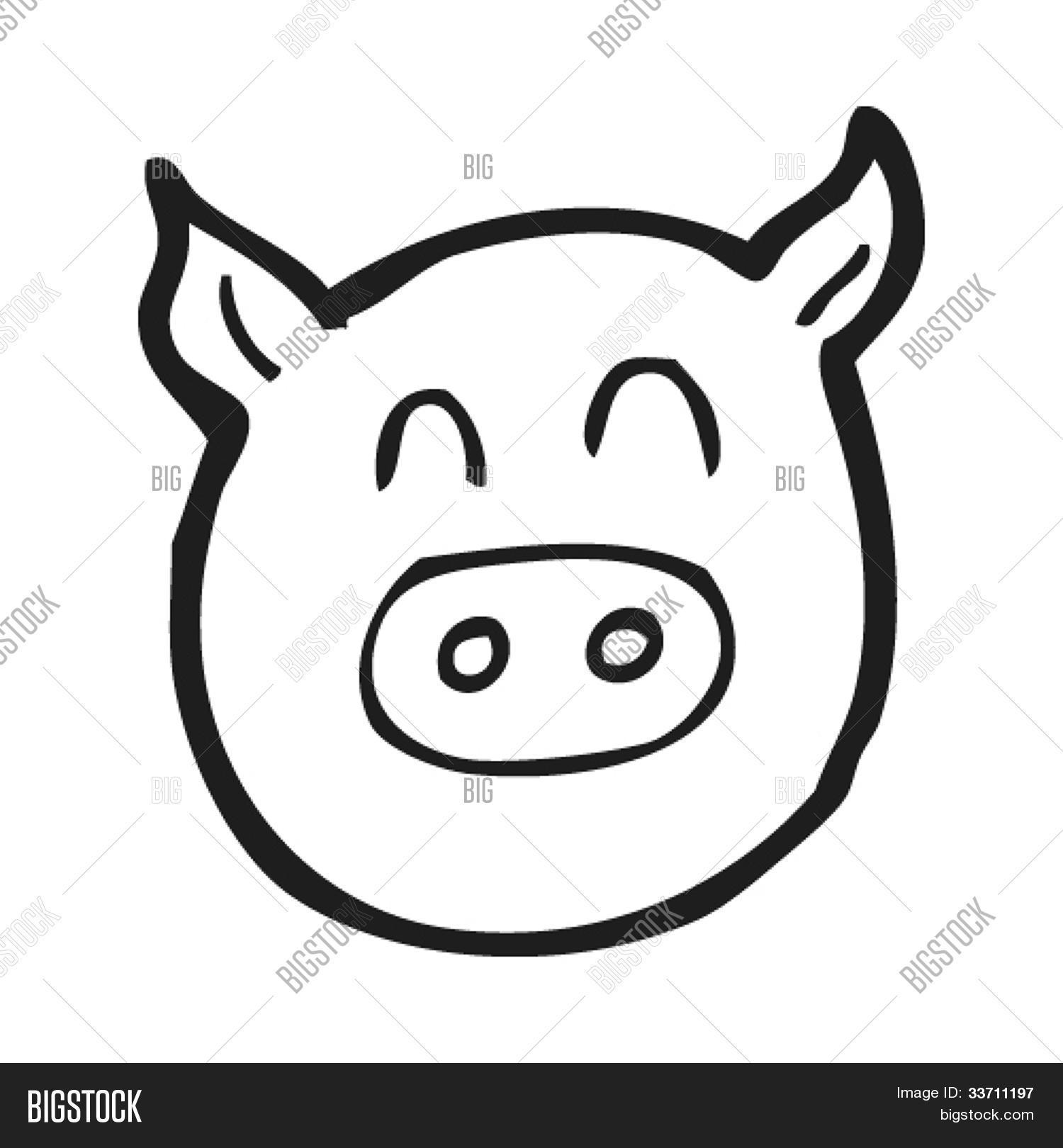 Vector y foto Cara De Cerdo De Dibujos Animados  Bigstock