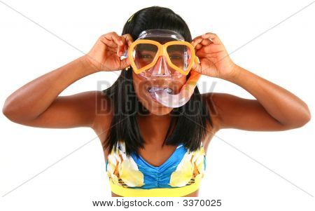 Adorible 10 Year Old Girl With Snorkel
