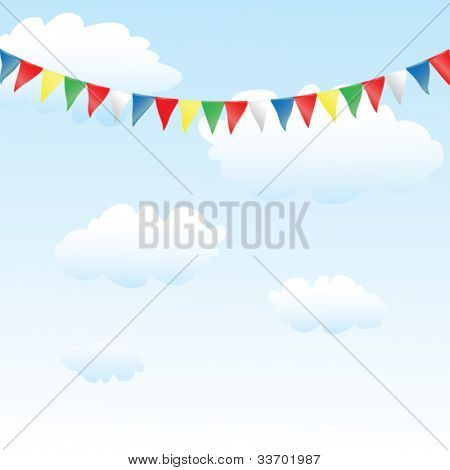 colorful bunting, blue sky with clouds
