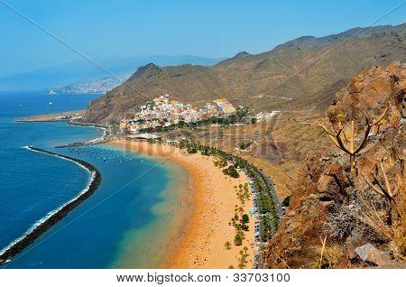 Aerial view of Teresitas Beach in Tenerife, Canary Islands, Spain