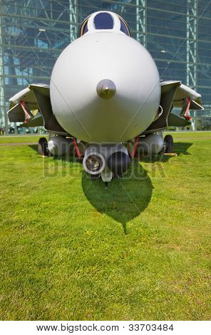 Close up Front Profile Jet Fighter on green grass