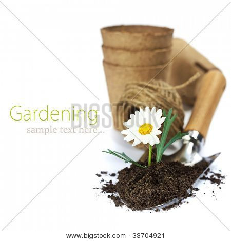 Garden tools and flower isolated on white background (with easy removable text)