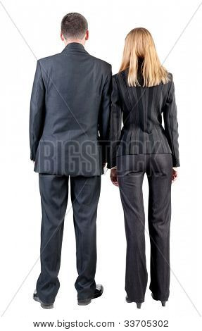 Back view of business team look . young couple (man and woman).  beautiful friendly girl and guy in suit together. Rear view people collection. backside view of person. Isolated over white background