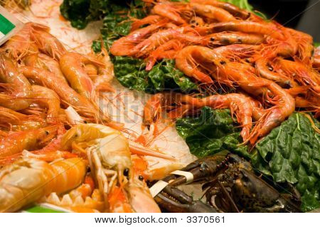Fresh Shrimp And Lobster At Market