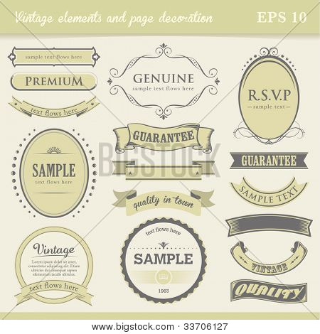 Vintage labels, elements and page decoration