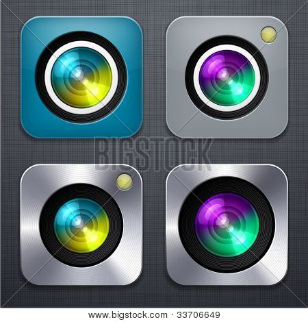 Vector illustration of high-detailed camera apps icon set over linen texture.