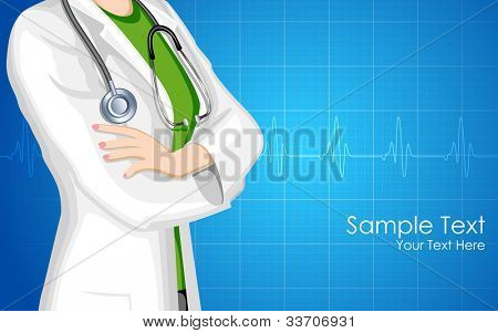 illustration of lady doctor with stethoscope on medical background