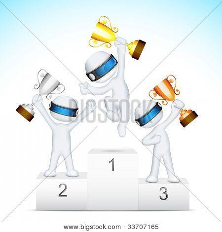 Ilustración del hombre 3d en trofeo de vector completamente escalable de celebración en el podio de la victoria