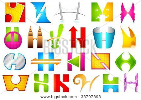 illustration of set of different colorful icon for alphabet H