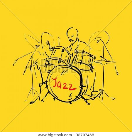 Sketch. Drummer. Vector illustration.