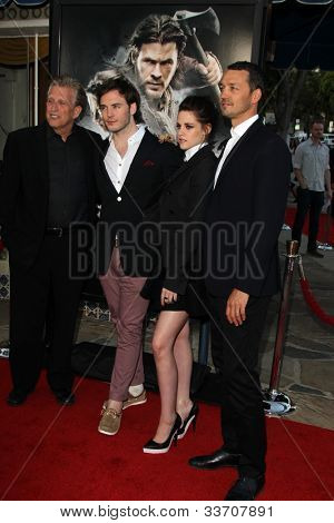 LOS ANGELES - MAY 29: Joe Roth, Sam Claflin, Kristen Stewart and Rupert Sanders arrives at the 'Snow White And The Huntsman' Los Angeles screening at Village Theater on May 29, 2012 in Westwood, CA