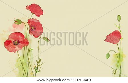 watercolor card with stylized poppy flowers