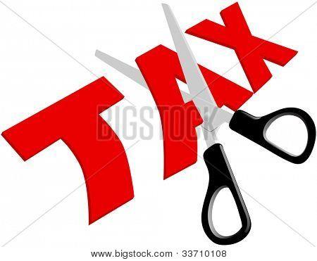 Schere schneidet unfaire zu hohe Steuern in der Hälfte