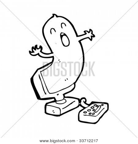 cartoon ghost coming out of computer screen